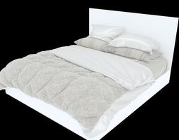 sleeping Modern Bed with bedding 3D model