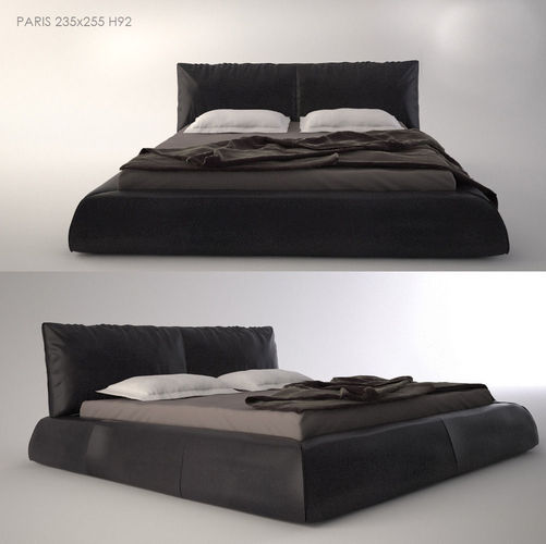 modern bed with bedding 3d model max fbx 1