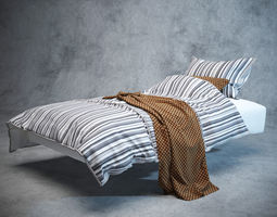 Modern Bed with bedding pillow 3D model
