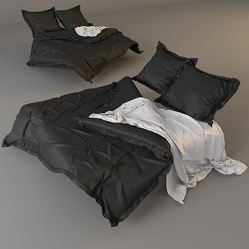 modern bed with bedding 3d model max obj mtl 1