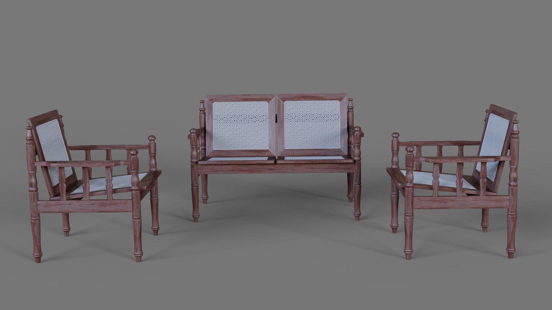 3D model Wooden Sofa set | CGTrader