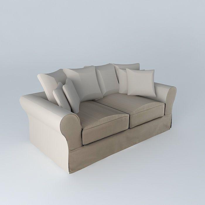 Sofa 3seat taupe BASTIDE Maisons du monde | 3D model
