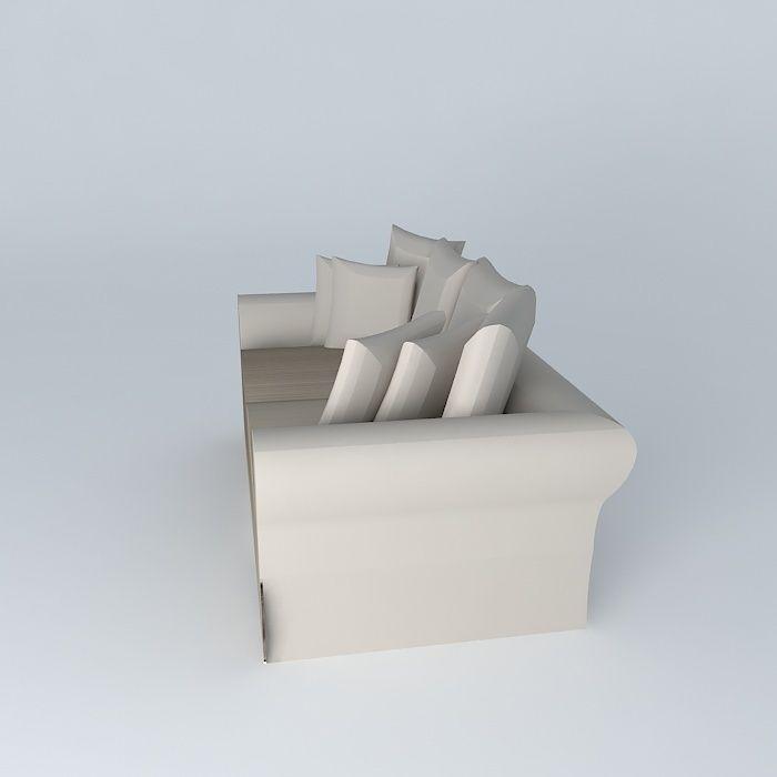 Sofa 3seat taupe bastide maisons du monde 3d model max obj for Maison du monde job