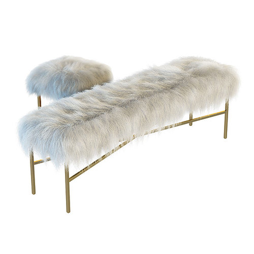 ... mongolian lamb chair and bench 3d model max 2 ... - 3D Mongolian Lamb Chair And Bench CGTrader