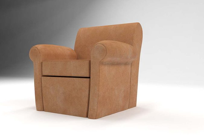 Pottery Barn Manhattan Leather Club Chair 3d Model Max Fbx