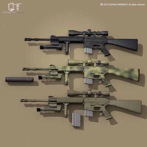 mk12 sniper rifle 3d model obj mtl 3ds fbx c4d dxf dae 1