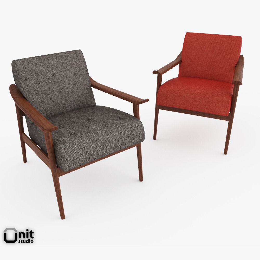 Mid century show wood upholstered chair by west elm 3d model max obj mtl 3ds
