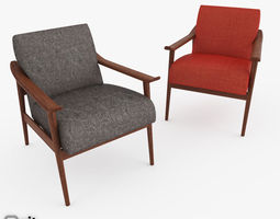 Mid-Century Show Wood Upholstered Chair by West Elm 3D Model
