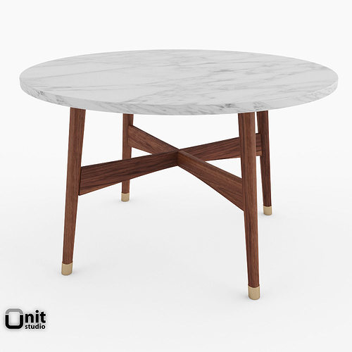 Reeve Mid Century Oval Coffee Table Marble Top: 3D Model Reeve Mid-Century Round Coffee Table By West