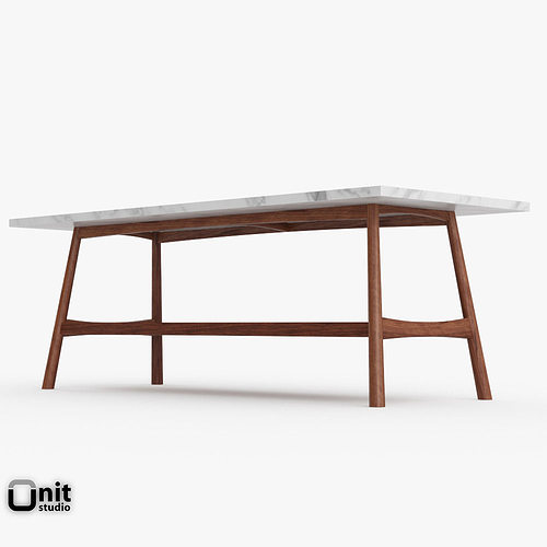 ... reeve mid-century rectangular coffee table by west elm 3d model max obj  3ds fbx ... - Reeve Mid-Century Rectangular Coffee Table By West Elm 3D Model
