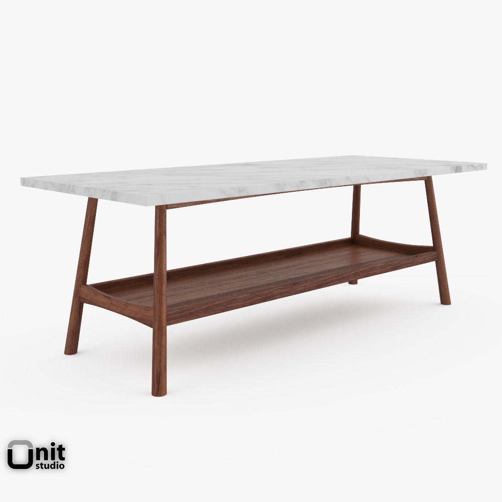 Reeve Mid Century Rectangular Coffee Table By West Elm 3d Model Max Obj 3ds  Fbx ...