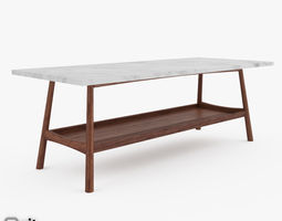 reeve mid-century rectangular coffee table by west elm 3d model max obj 3ds fbx dwg