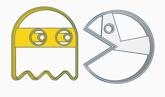 image about Pac Man Printable titled Pac-Gentleman cookie Cutter Mounted 3D Print Type