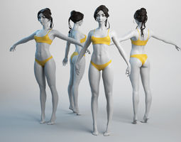Female Basemesh 01 3D asset low-poly