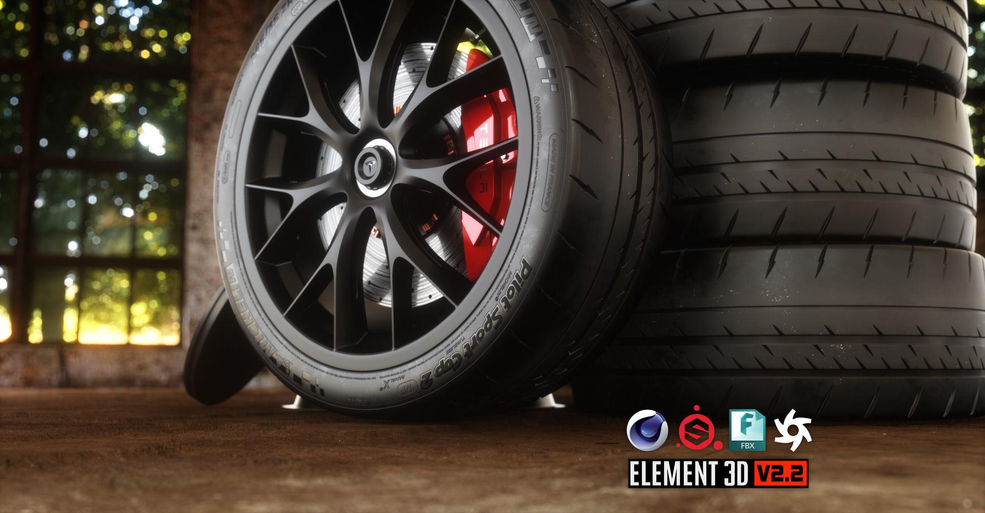 Sport Car Wheels Tesla Michelin