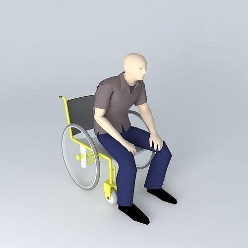 wheelchair 3d 3d model max obj 3ds fbx stl skp 1