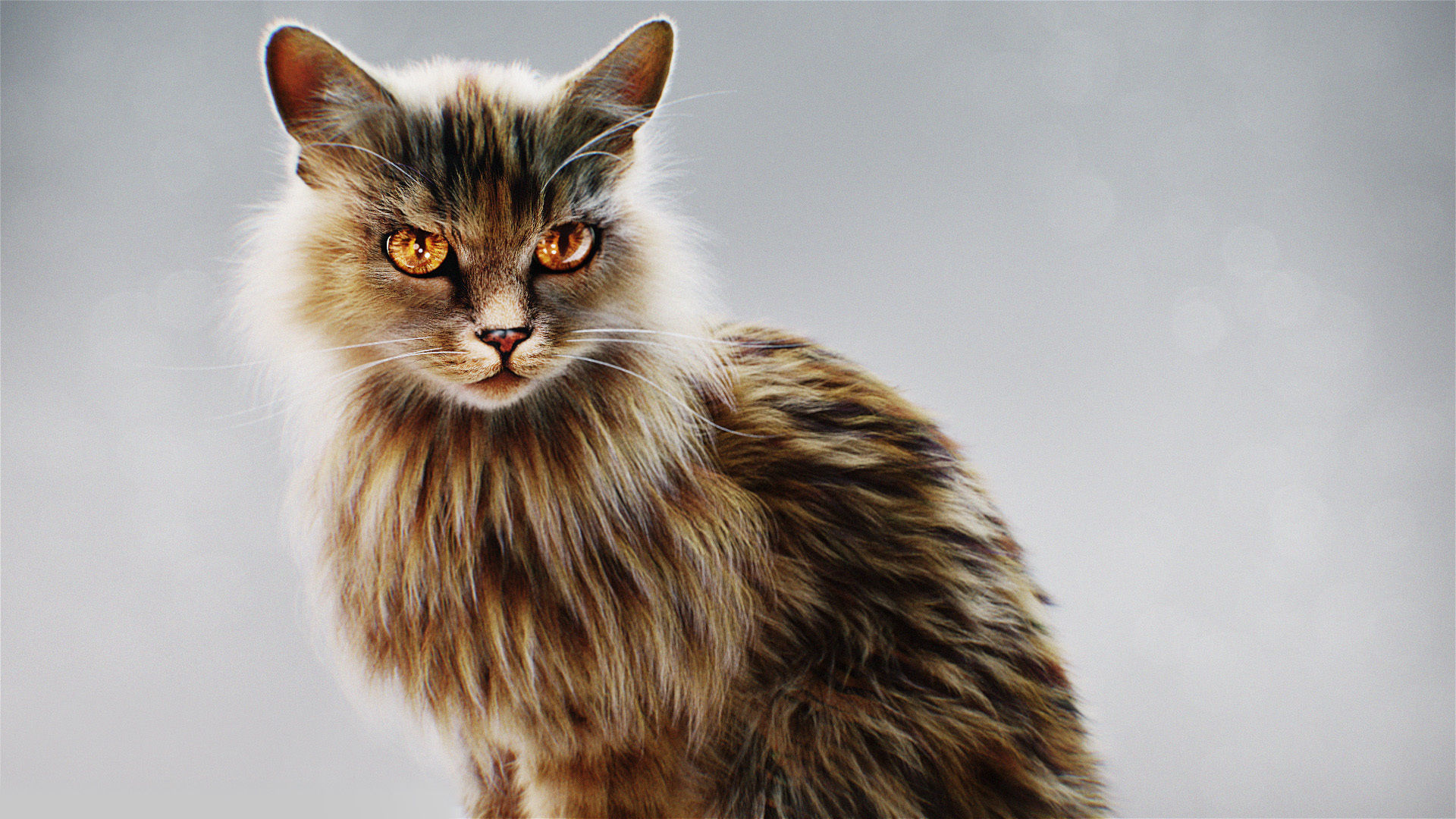 Hyper Realistic Cat model with Fur and shaders ready for render