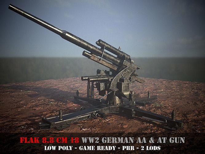 Flak 88 - WW 2 German AA and AT gun - Game Ready - PBR