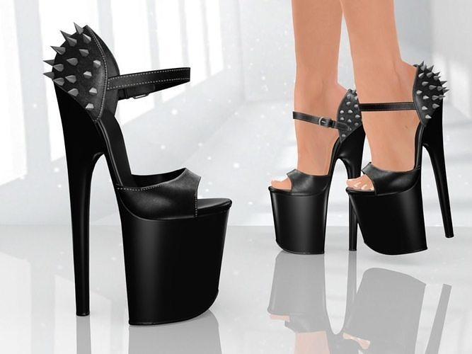 Platform High Studded Heels  - Low Poly 3D model
