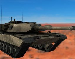 m1 abrams rigged tank 3d model realtime