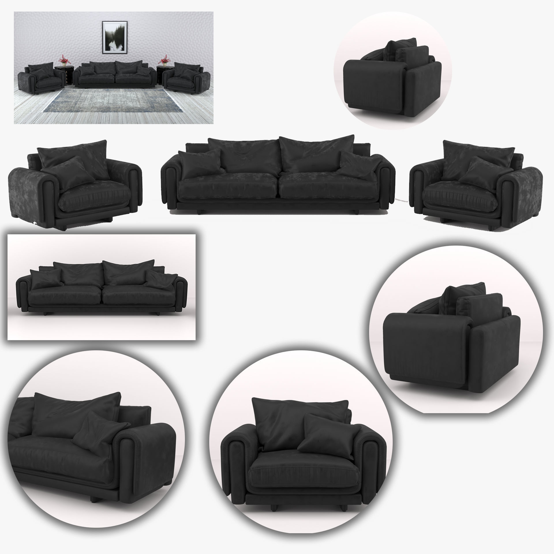 Black leather sofa and armchair furniture set | 3D model