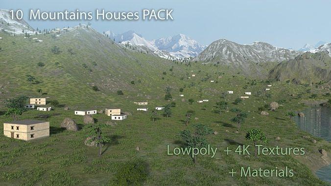 10 PBR Mountain Houses - LowPoly Himalaya buildings 4K Materials