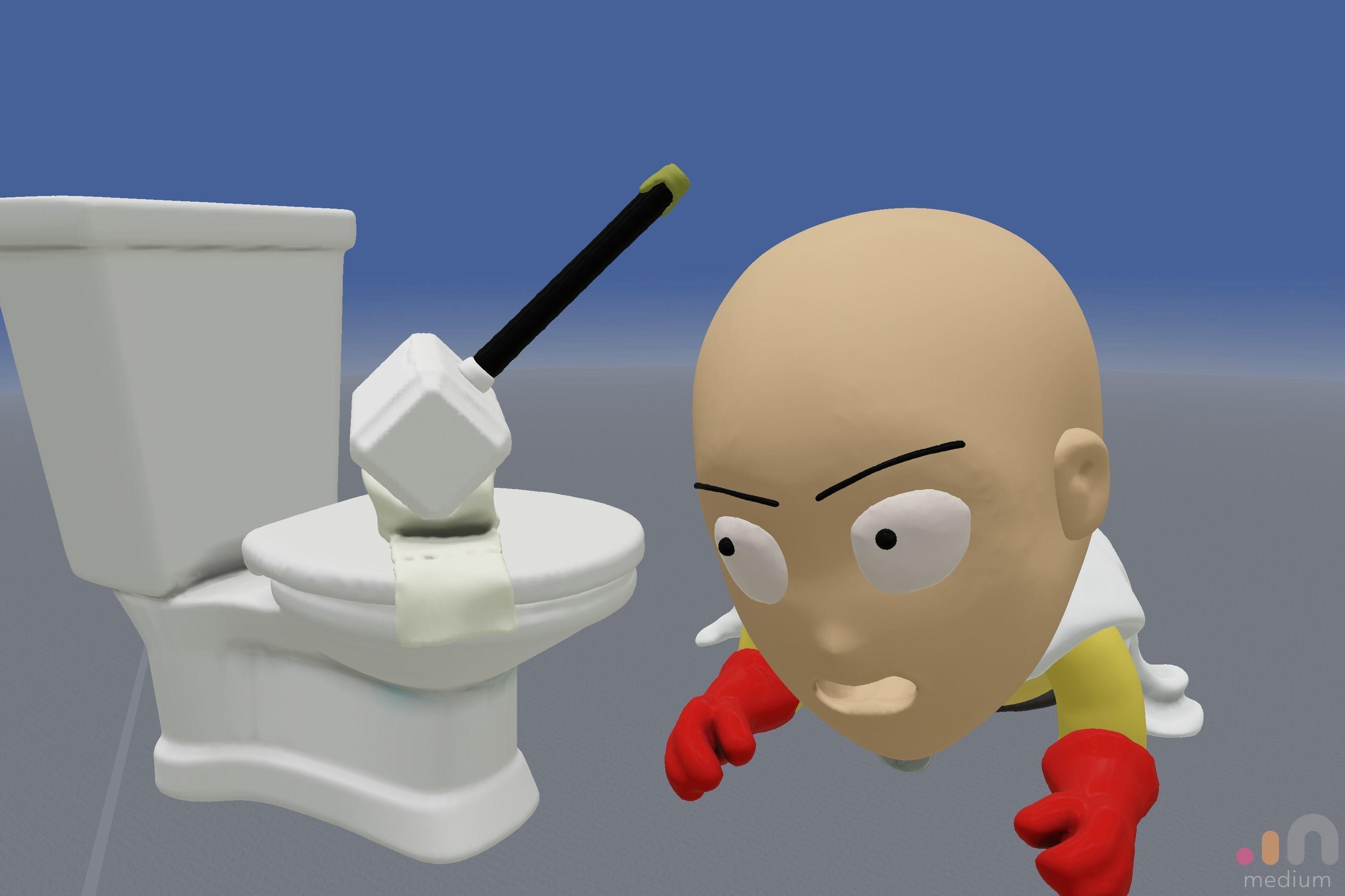 Meme One Punch Man meets Thors Hammer Toilet Prank | 3D model