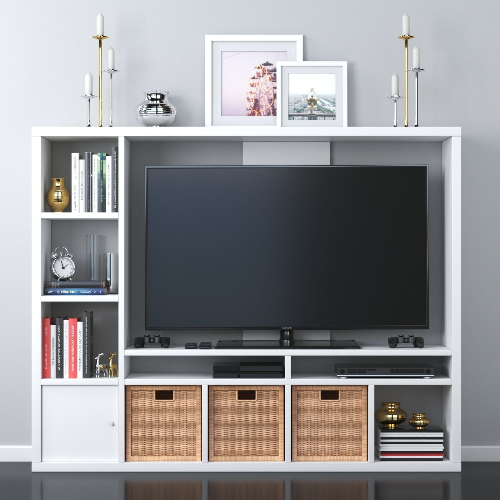 LAPPLAND TV storage unit black-brown and white 3D model
