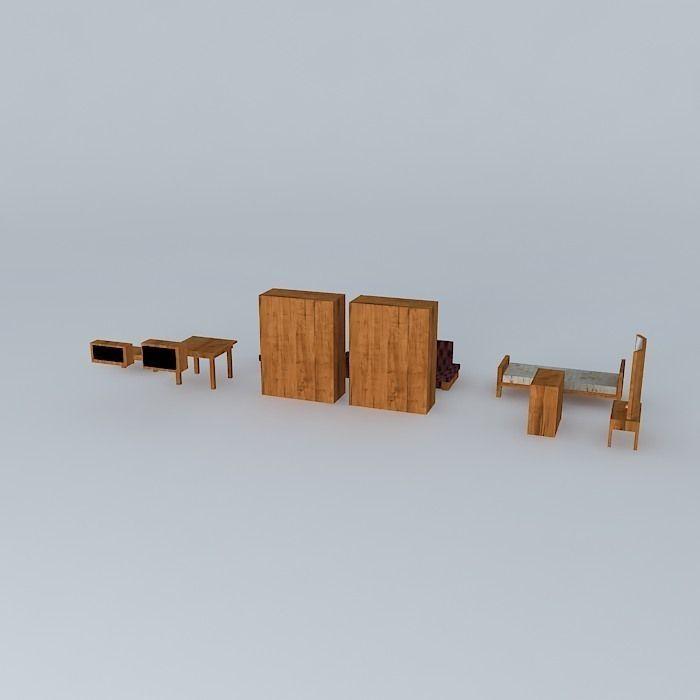Wood Furniture Set Free 3d Model Max Obj 3ds Fbx Stl Skp