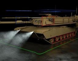 realtime 3d model m1 abrams tank rigged