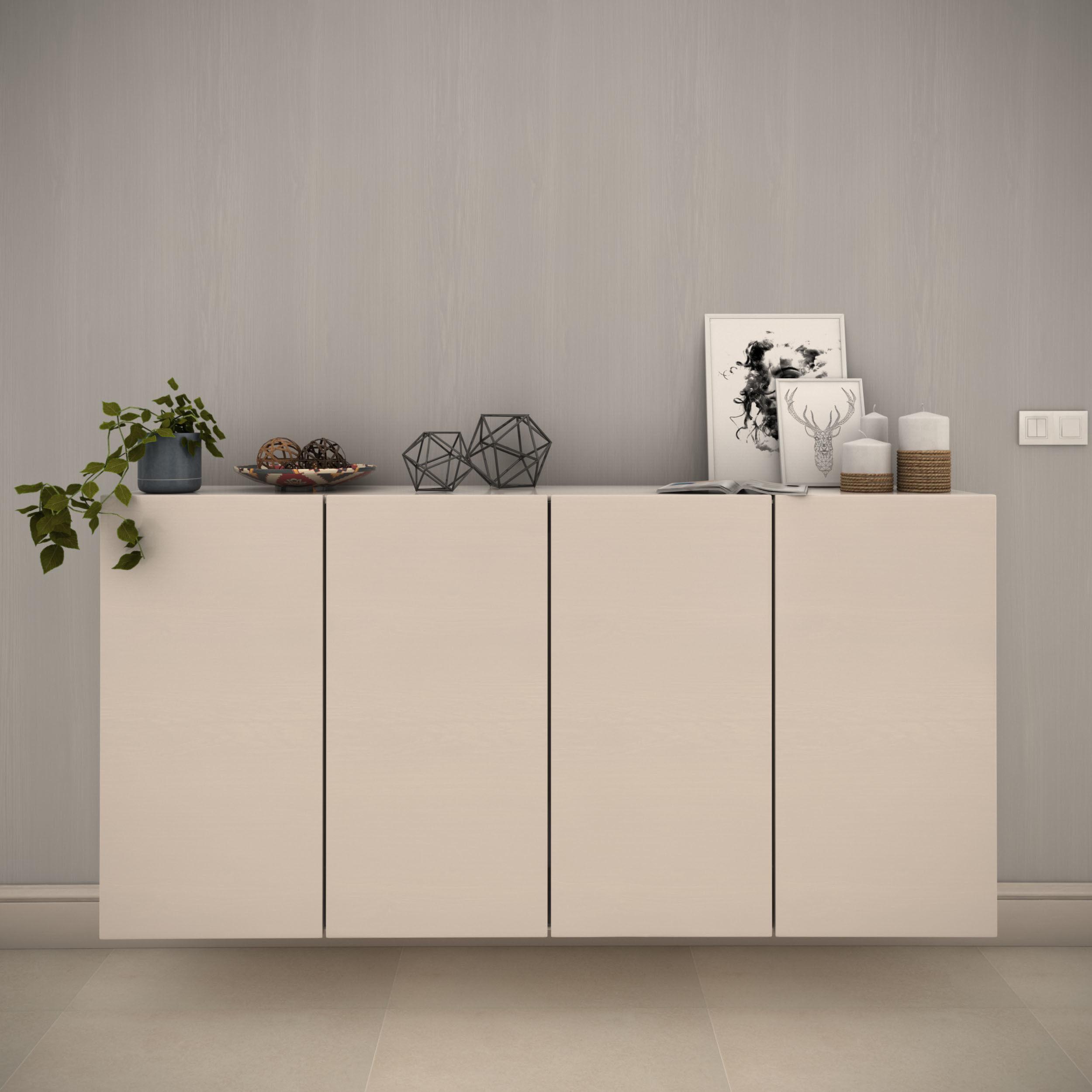 White modern cabinet composition - Include decorative set