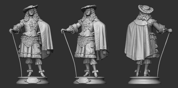 19th Century Man Sculpture 3D model 3D printable | CGTrader