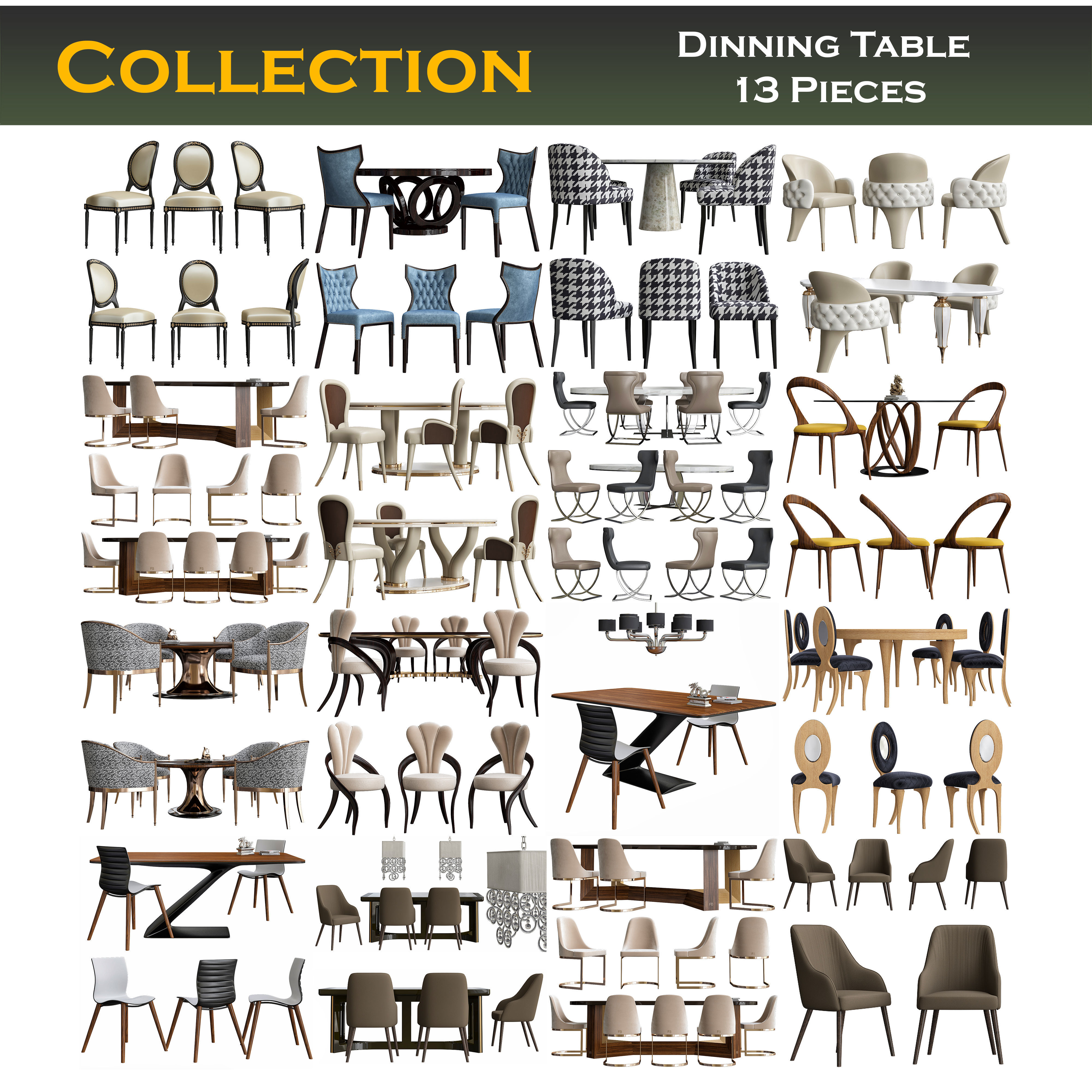 Collection of dining tables 3d model