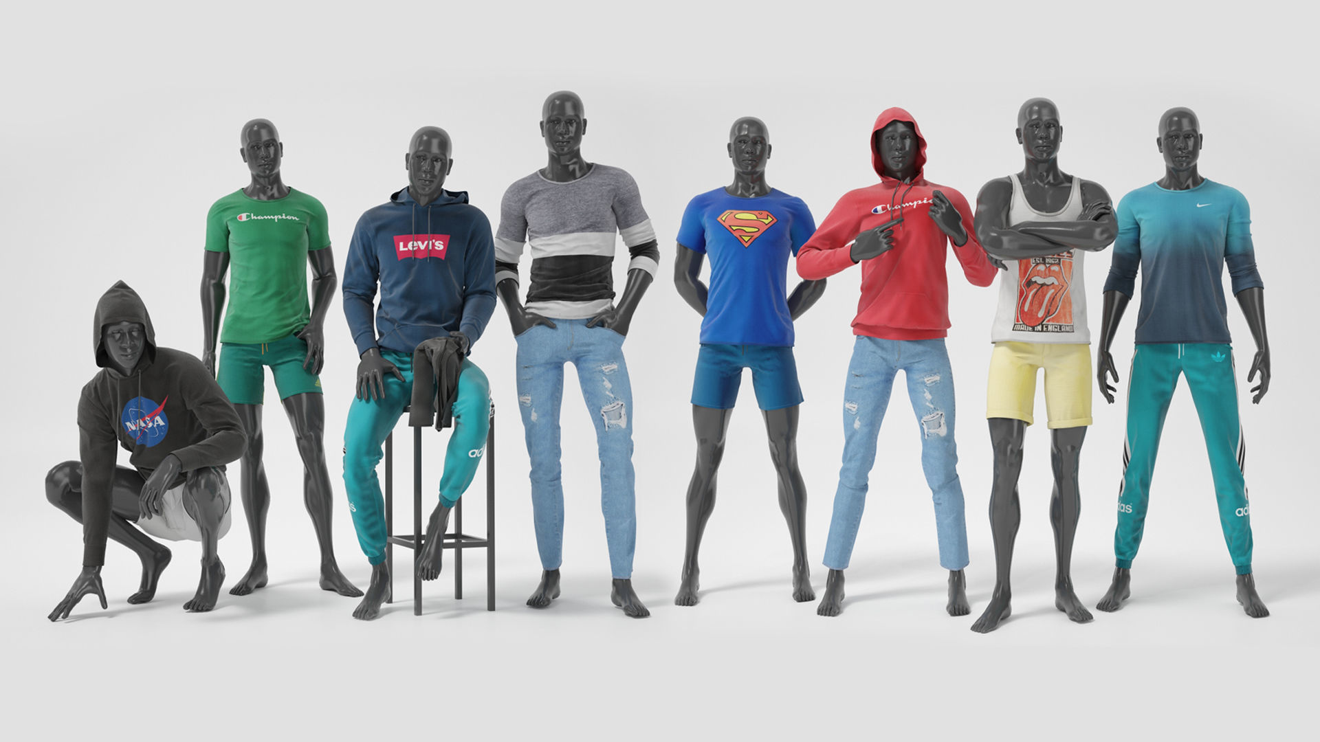 Male mannequins whith clothes  FULL PACK