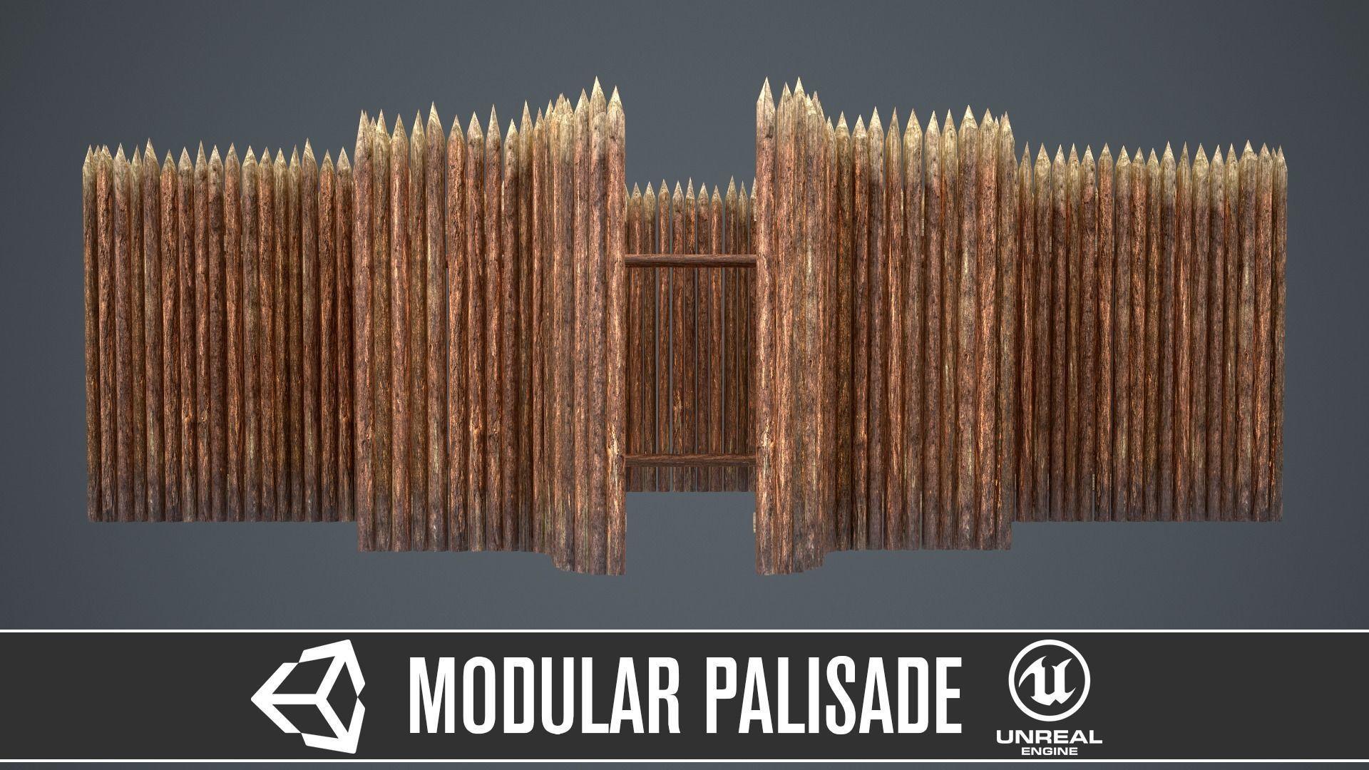 Modular castle wooden palisade