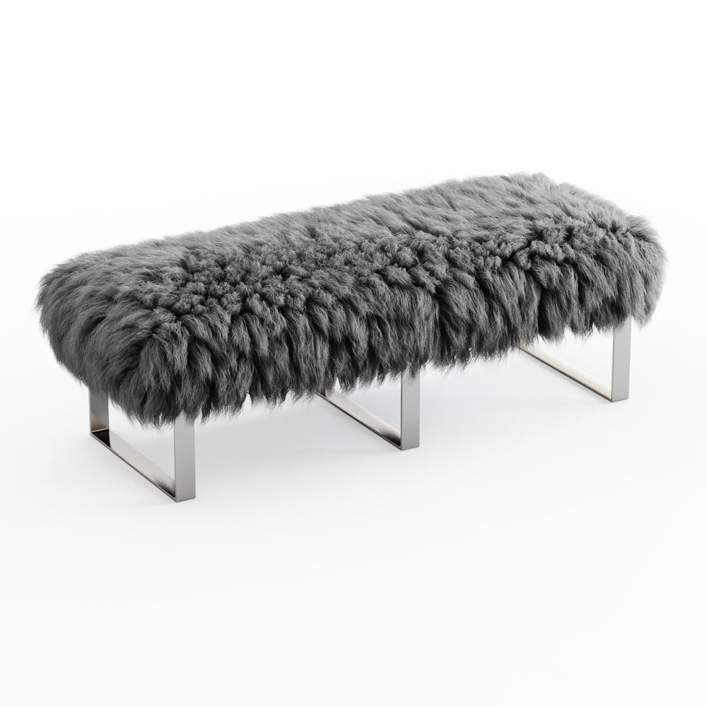 Mongolian Fur Gray Bench