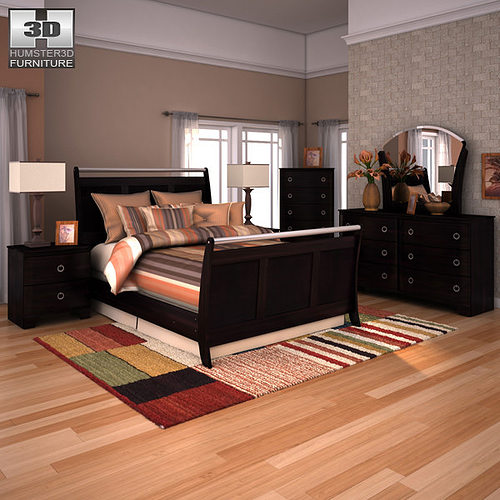 Ashley Furniture Bryant Ar Collection Collection Ashley: 3D Model Ashley Pinella Sleigh Bedroom Set VR / AR / Low