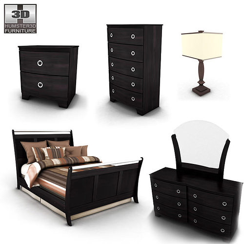 ashley pinella sleigh bedroom set 3d model max obj 3ds fbx c4d lwo lw include 1 pinella queen sleigh bed 2 pinella dresser mirror 3 pinella