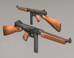 Thompson M1A1 3D asset low-poly