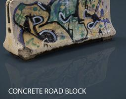 3d model VR / AR ready concrete road block
