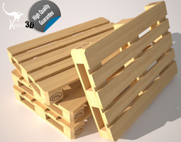 3d asset rigged wood pallet eur epal VR / AR ready