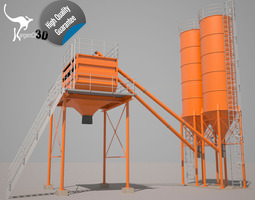 Cement silo hopper 3D model rigged