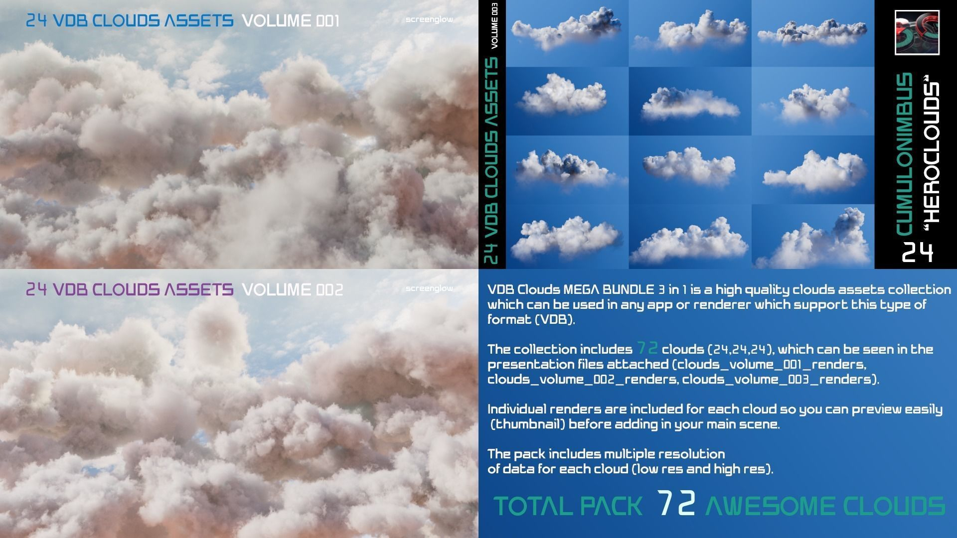 VDB Clouds MEGA BUNDLE 3 in 1
