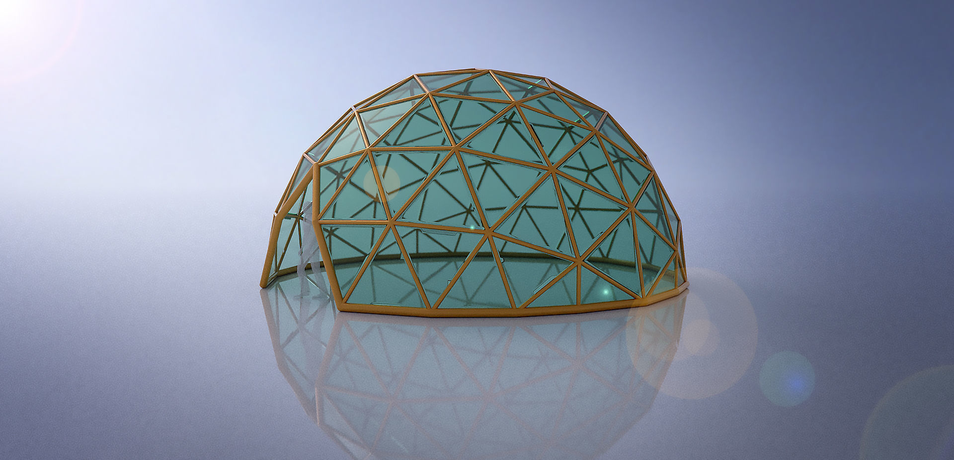 Large dome with glass panels and entry 3d DOME