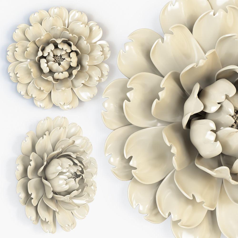 Ivory Large Flower Wall Decor 3D model MAX OBJ FBX STL