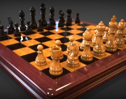 Chess complete high poly 3D model