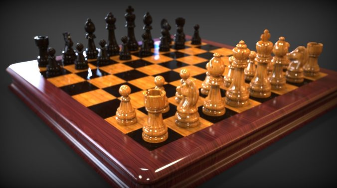 chess complete high poly 3d model obj mtl blend 1