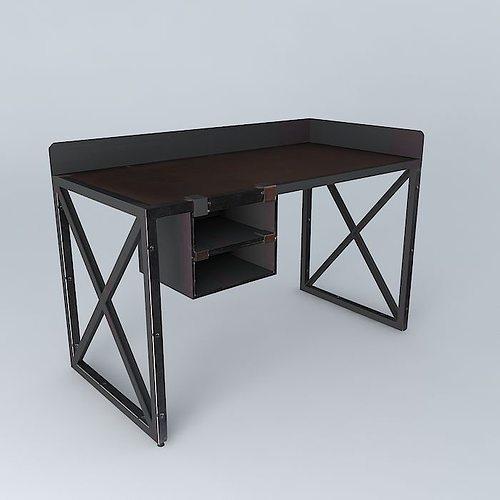 Office Desk 3d Model Max Obj 3ds Fbx Stl Skp