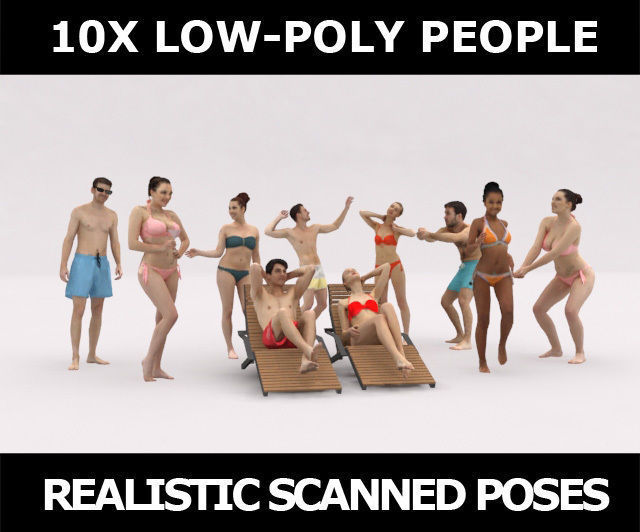 10x LOW POLY BEACH PEOPLE CROWD