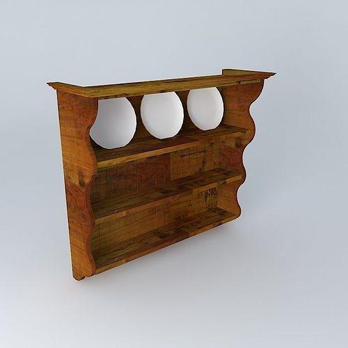 wooden plate rack 3d model max obj 3ds fbx stl skp 1 ... & 3D model Wooden plate rack | CGTrader